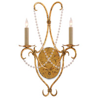 Crystal Lights 2 Light 14 inch Gold Leaf Wall Sconce Wall Light