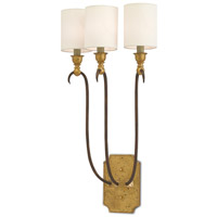 Goldoni 3 Light 11 inch Hand-Rubbed Bronze/Gold Leaf Wall Sconce Wall Light
