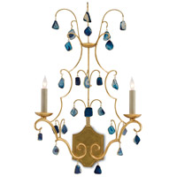 Eudora 2 Light 16 inch Antique Gold Leaf and Blue Wall Sconce Wall Light