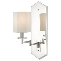 Currey & Company 5000-0114 Hopper 12 inch 60 watt Polished Nickel and Clear Swing-Arm Wall Sconce Wall Light, The Barry Goralnick Collection