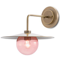 Currey & Company 5000-0121 Discus 1 Light 14 inch Antique Brass/Blush Pink Wall Sconce Wall Light Denise McGaha Collection