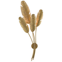 Currey & Company 5000-0128 Tropical 4 Light 20 inch Vintage Brass Wall Sconce Wall Light