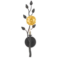 Currey & Company 5000-0145 Oona 1 Light 7 inch French Black/Contemporary Gold Leaf Wall Sconce Wall Light