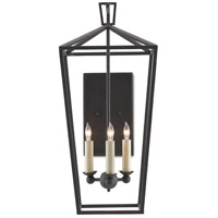 Currey & Company 5000-0169 Denison 3 Light 11 inch Mol Black Wall Sconce Wall Light