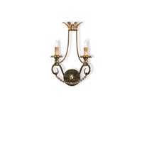 Currey & Company Anise 2 Light Wall Sconce in Barcelona Gold/Gold Leaf/Silver 5010