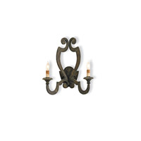 Currey & Company Retrospect 2 Light Wall Sconce in Bronze Verdigris 5012