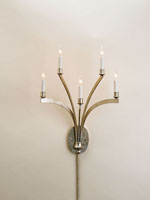Currey & Company Galaxy 5 Light Wall Sconce in Contemporary Silver Leaf 5020