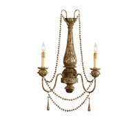 Currey & Company 5026 Eminence 2 Light 17 inch Distressed Silver Leaf Wall Sconce Wall Light
