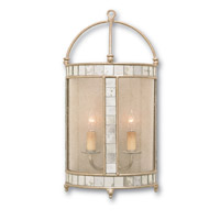 Currey & Company Corsica 2 Light Wall Sconce in Harlow Silver Leaf 5032 photo thumbnail