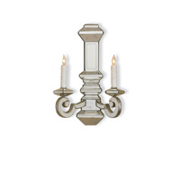 Currey & Company Domani 2 Light Wall Sconce in Harlow Silver Leaf/ Antique Mirror 5042