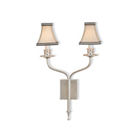 Currey & Company Highlight 2 Light Wall Sconce in Contemporary Silver Leaf 5106