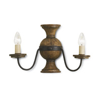 Currey & Company Treesmill 2 Light Wall Sconce in Mole Black and Weathered Wood 5118