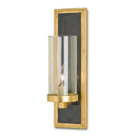 Currey & Company Charade 1 Light Wall Sconce in Contemporary Gold Leaf and Black Penshell Crackle 5140