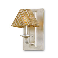 Currey & Company Julia Rose 1 Light Wall Sconce in Contemporary Silver Leaf and Natural 5144