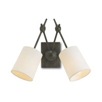 Currey & Company Compass 2 Light Wall Sconce in Cupertino with White Linen Shades 5150