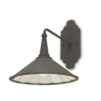 Currey & Company 5151 Manuscript 1 Light 14 inch Mol Black/Antique Mirror Wall Sconce Wall Light