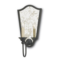 Currey & Company Marseille 1 Light Wall Sconce in French Black/Antique Mirror 5155