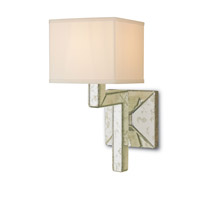 Currey & Company Stellar 1 Light Wall Sconce in Viejo Silver/Antique Mirror with Off White Shantung Shade 5159