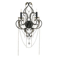 Currey & Company Vatican 2 Light Wall Sconce in Old Iron/Aged Brass 5160