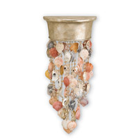 Currey & Company Seaside 1 Light Wall Sconce in Silver Granello and Natural 5192
