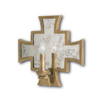 Currey & Company Mercury 1 Light Wall Sconce in Vintage Brass and Antique Mirror 5196