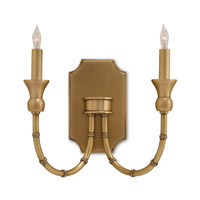 Currey & Company Imperial Bamboo 2 Light Wall Sconce in Antique Brass 5218
