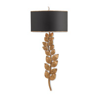 Currey & Company Birdwood 2 Light Wall Sconce in Textured Gold Leaf and Satin Black 5221