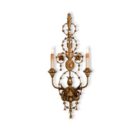 Currey & Company 5309 Belmonte 2 Light 12 inch Gold Leaf Wall Sconce Wall Light