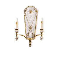 Currey & Company Napoli 2 Light Wall Sconce in Gold Leaf/Vintage Silver Leaf 5314