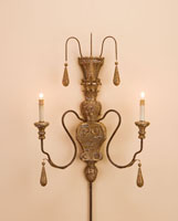 Currey & Company Mansion 2 Light Wall Sconce in Mansion Gold 5325