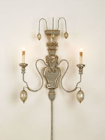 Currey & Company Rossetti 2 Light Wall Sconce in Provencial White/Silver Leaf 5346