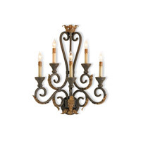 Currey & Company Orleans 5 Light Wall Sconce in Hand Rubbed Bronze 5349