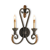 Currey & Company 5350 Orleans 2 Light 12 inch Hand Rubbed Bronze Wall Sconce Wall Light