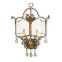 Currey & Company 5357 Zara 2 Light 16 inch Viejo Gold/Silver Wall Sconce Wall Light