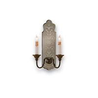 Currey & Company Antonio 2 Light Wall Sconce in Venetian Mirror/Old Iron 5403