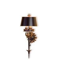 Currey & Company The Duke 3 Light Wall Sconce in Zanzibar Gold Leaf/Zanzibar Black 5412