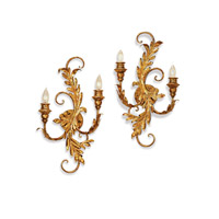 Currey & Company Panache 2 Light Wall Sconce in Gold Leaf 5422