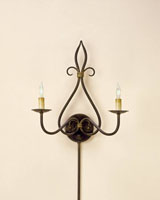 Currey & Company Icon 2 Light Wall Sconce in Old Iron/Old Brass 5517