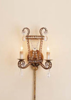 Currey & Company Serendipity 2 Light Wall Sconce in Rhine Gold 5544