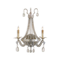 Currey & Company Chartres 2 Light Wall Sconce in Silver Leaf 5780