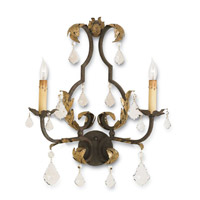 Currey & Company 5828 Tuscan 2 Light 17 inch Venetian/Gold Leaf/Swarovski Crystal Wall Sconce Wall Light