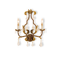 Currey & Company Tuscan 2 Light Wall Sconce in Venetian/Gold Leaf/Swarovski Crystal 5828