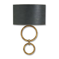 Currey & Company Bolebrook 1 Light Wall Sconce in Gold Leaf and French Black 5910