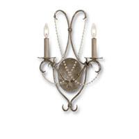 Currey & Company 5980 Crystal Lights 2 Light 14 inch Silver Leaf Wall Sconce Wall Light