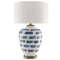 Brushstroke 18 inch 150 watt White / Blue / Antique Brass Table Lamp Portable Light
