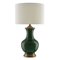 Lilou 17 inch 150 watt Green / Antique Brass Table Lamp Portable Light