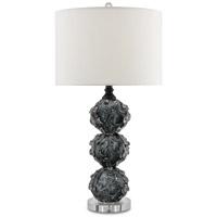 Currey & Company 6000-0024 Octave 17 inch 150 watt Dark Smoke / Black / Clear Table Lamp Portable Light