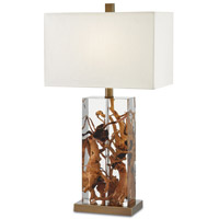 Durban 13 inch 100 watt Natural / Clear / Antique Brass Table Lamp Portable Light