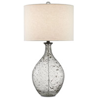 Luc 16 inch 150 watt Clear Speckled Glass / Steel Gray Table Lamp Portable Light