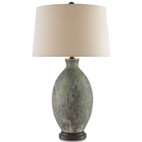 Remi 30 inch 150 watt Green, Dark Red Drip Glaze / Bronze Gold Table Lamp Portable Light